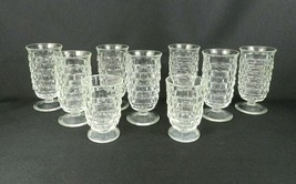 """Vtg Indiana Whitehall American Footed Juice Glasses Cubist 7 - 5-1/2""""H /... - $29.69"""