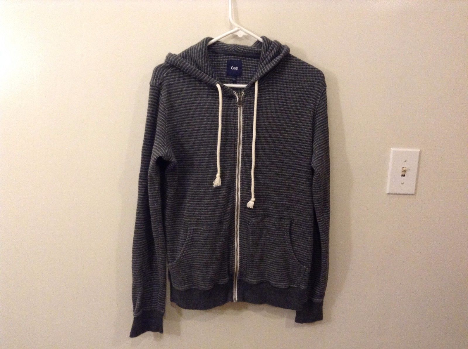 Great Condition Gap S Gray Striped Zip Up Hoodie White Strings 100% Cotton