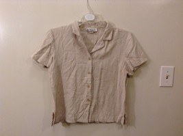 Great Condition Briggs M Taupe Short Sleeved Button Up Blouse Used
