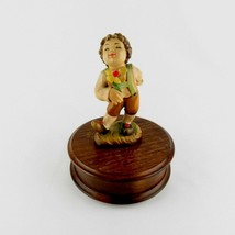 Vintage The Music Box Dancer Carved Reuge Boy Romy Swiss Musical Movement Video - $129.99