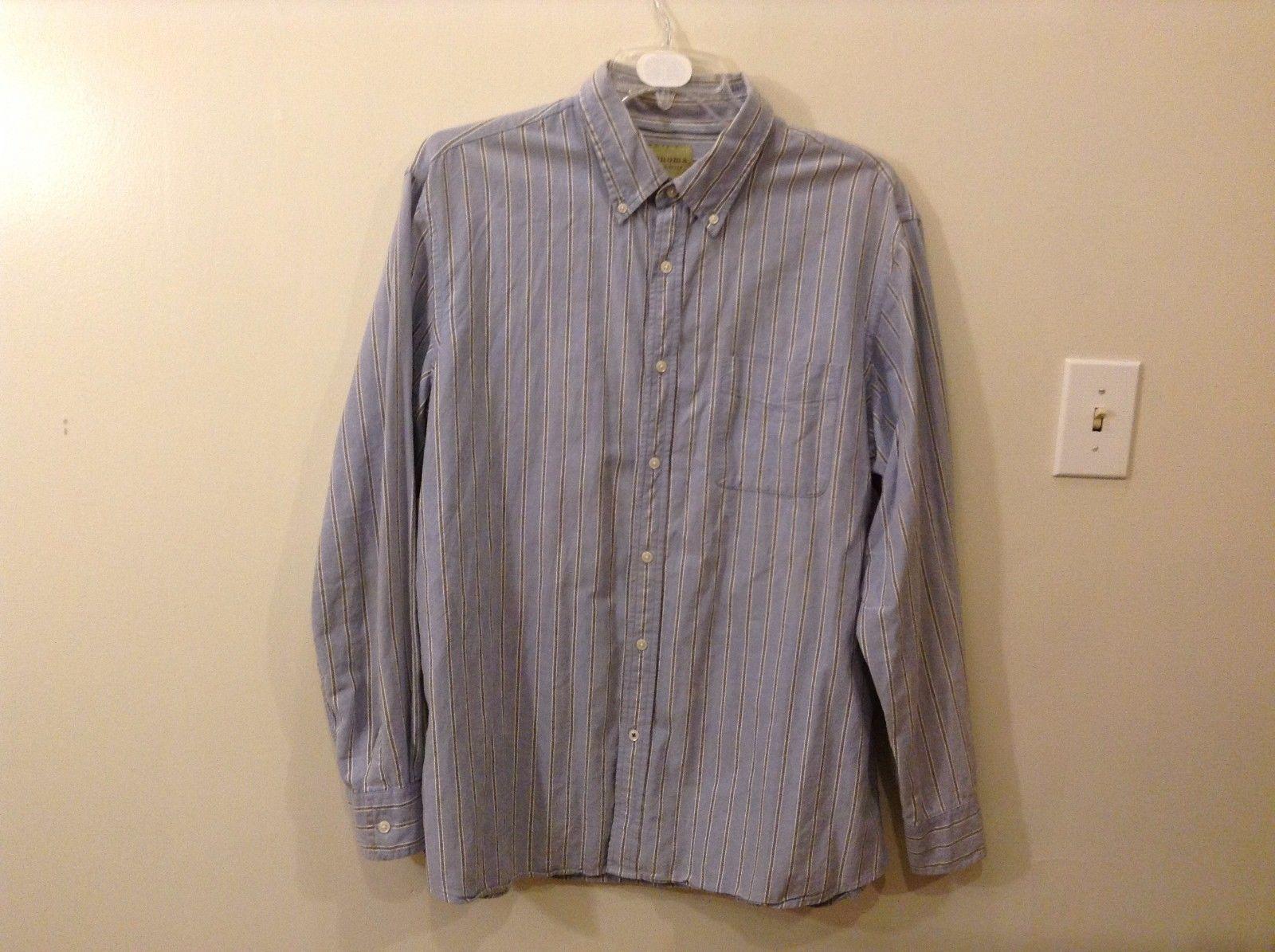 Good Condition Sonoma XL 100% Cotton Soft Blue Periwinkle Striped Button Up