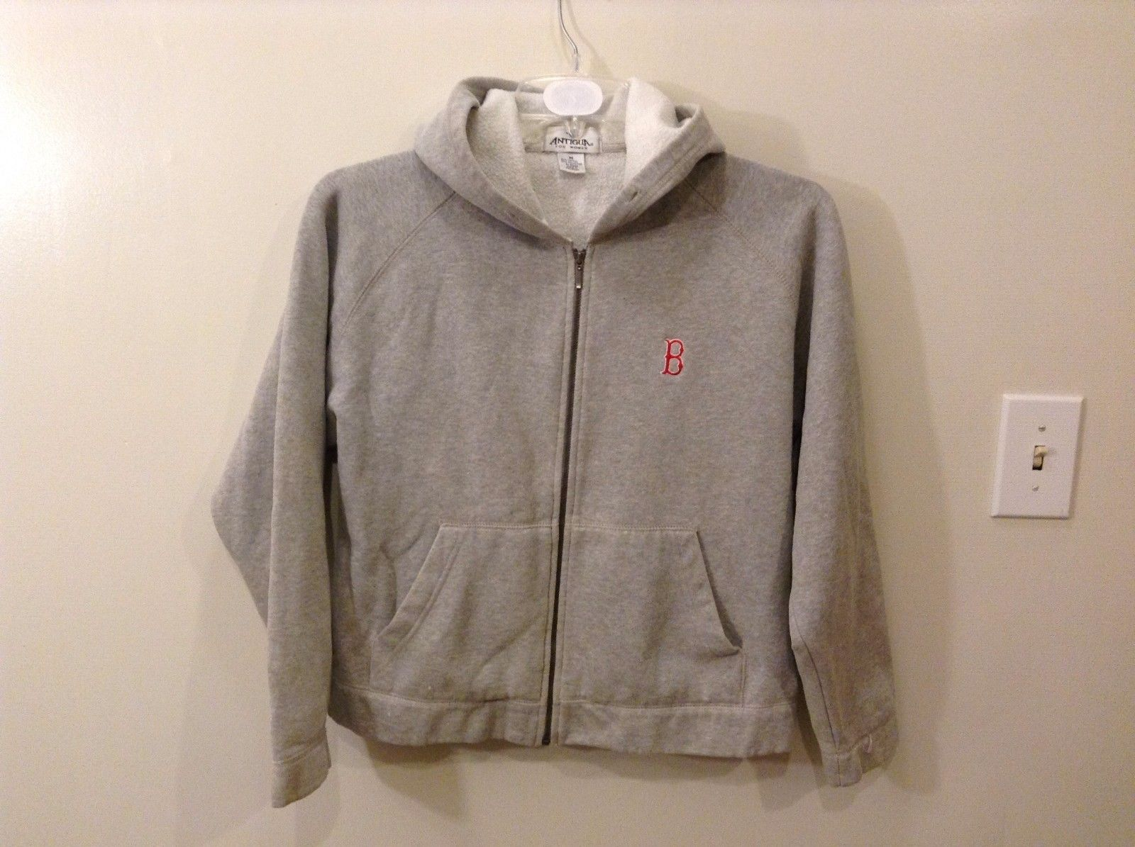 Good Condition Antigua For Women M Gray Boston Red Sox Zip Up Hoodie B Logo