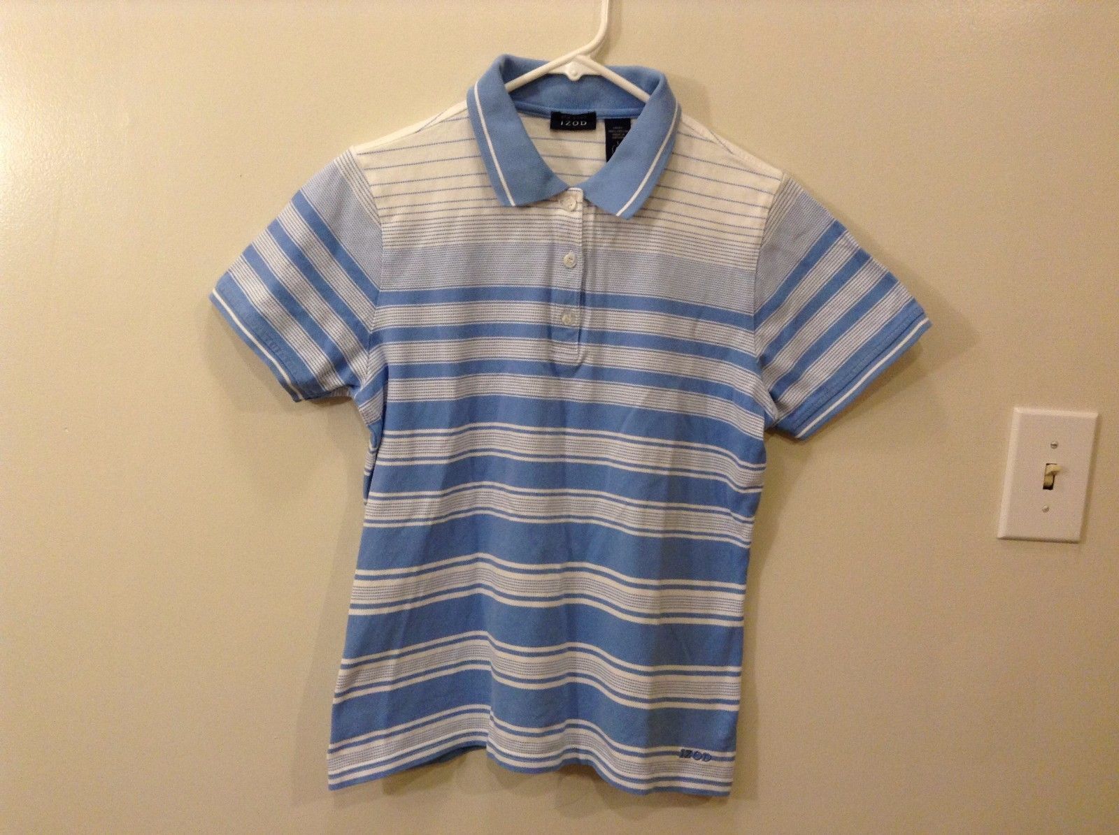 Great Condition IZOD L Soft Blue White Short Sleeve Horizontal Stripe Polo