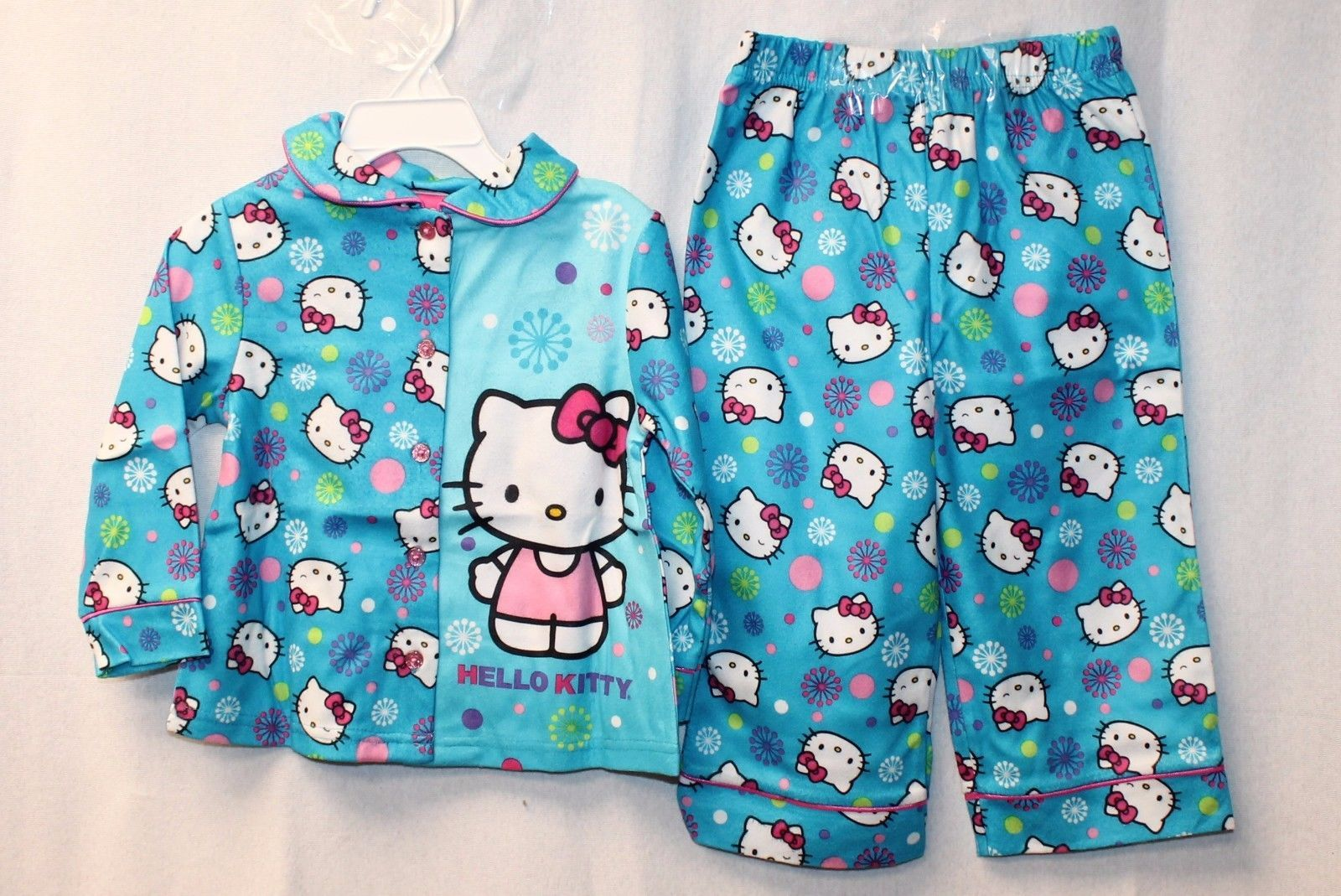 Hello Kitty Toddler Girls Kitty In Mint 4 Piece Cotton Pajama Set 2T, Mint//Pink