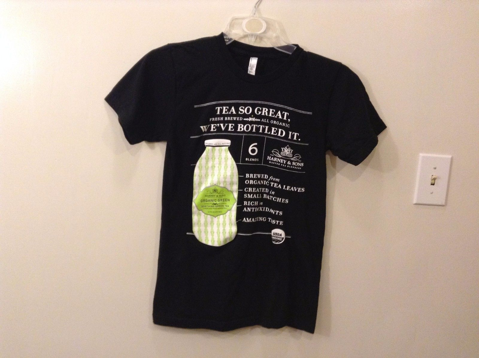Great Condition American Apparel Harney & Sons Tea-shirt Black White Lime Green