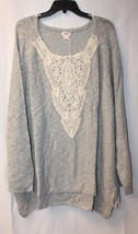 New Womens Plus Size 4X 28W Gray Pullover Sweater Top W Beautiful Lace Detailing - $19.33