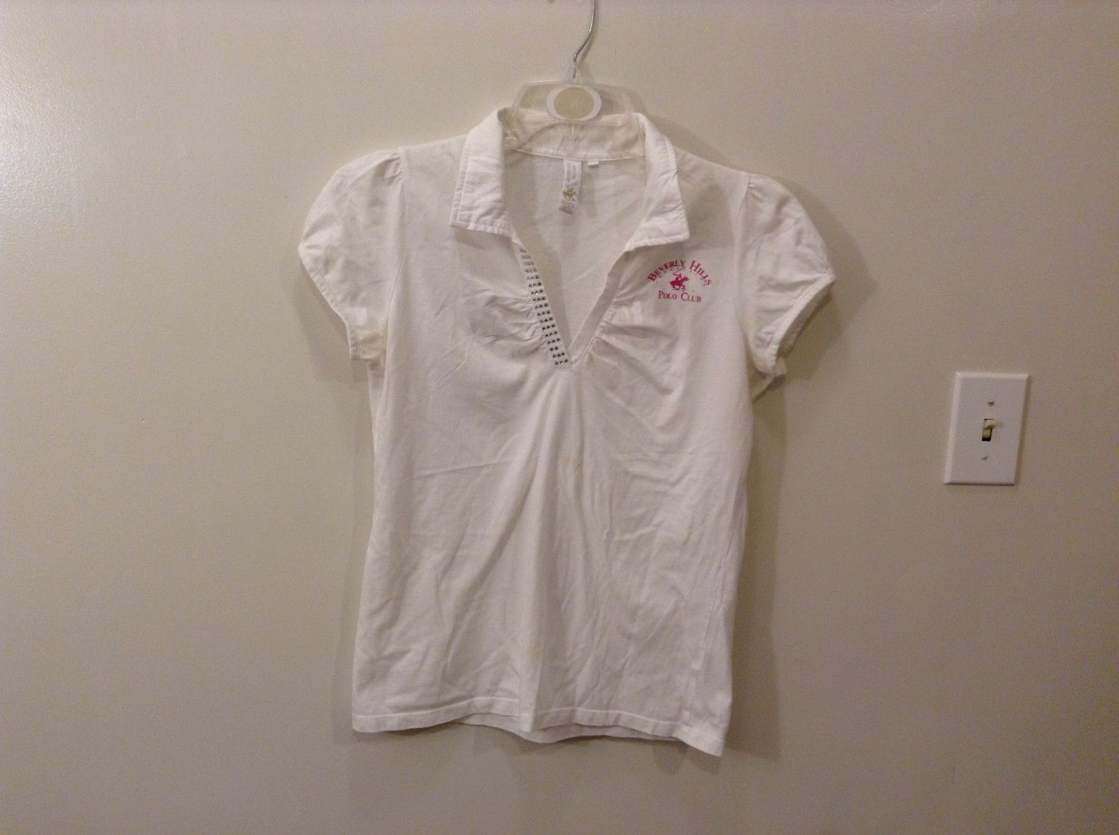 Beverly Hills Polo Club L Short Sleeve V-Neck Top Pink Logo