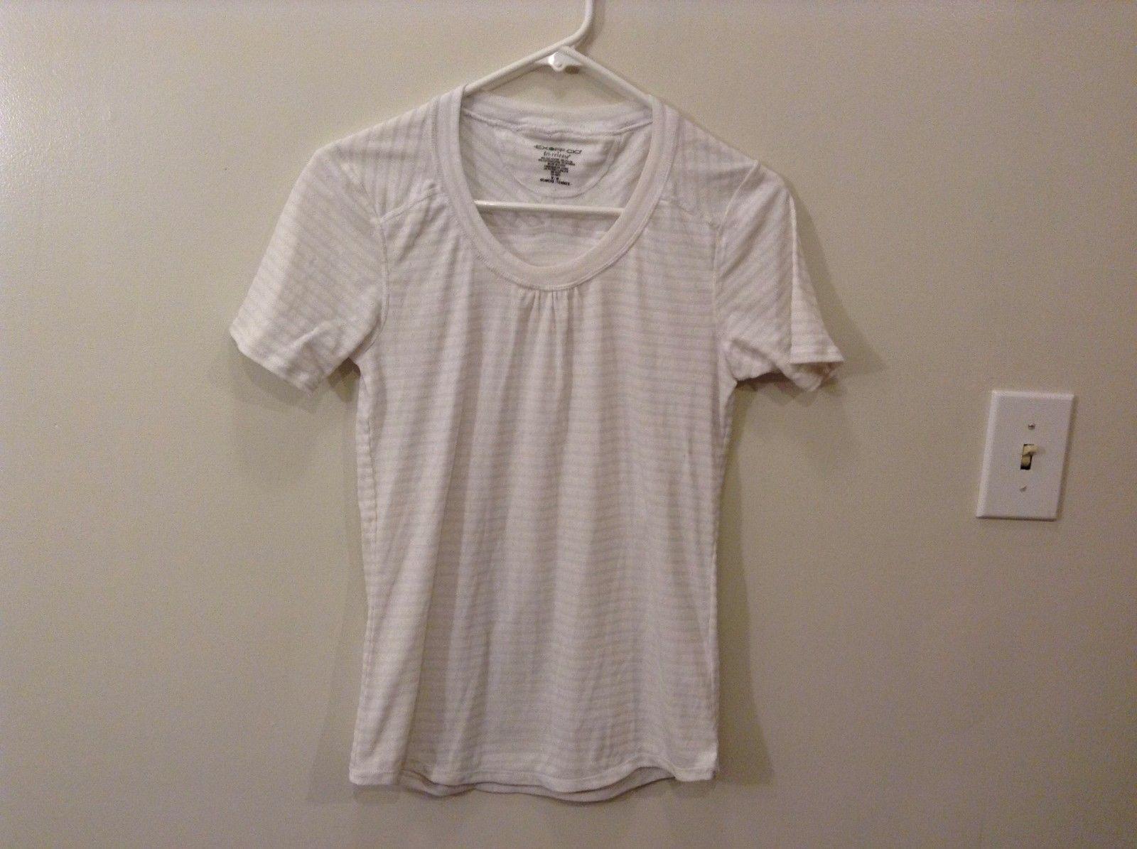 EXOFF CIO M White Off White Horizontal Striped Blouse Good Used Condition