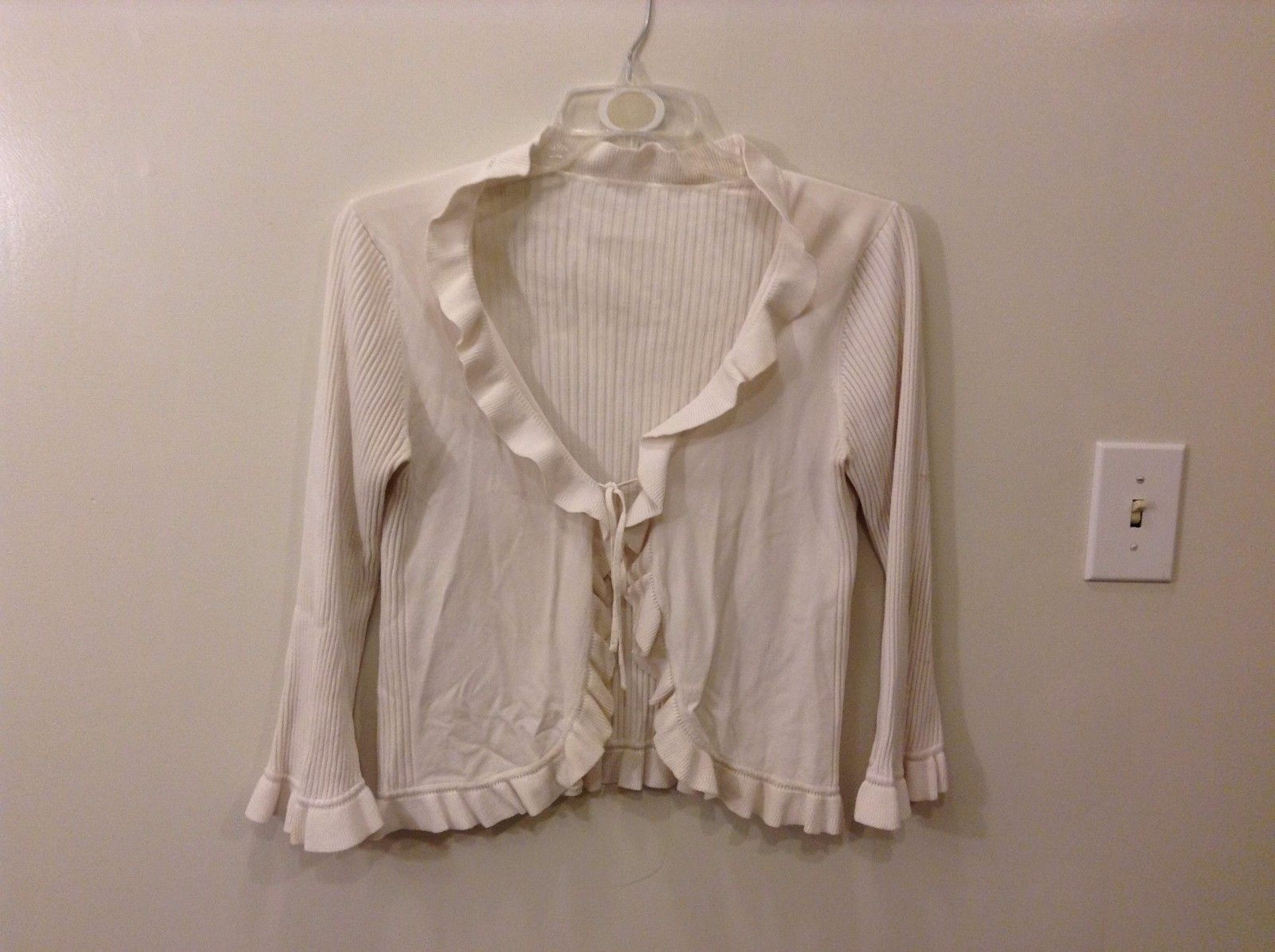 Cream Cardigan Blouse Sweater Self Tie String Adjustable Frilly Borders