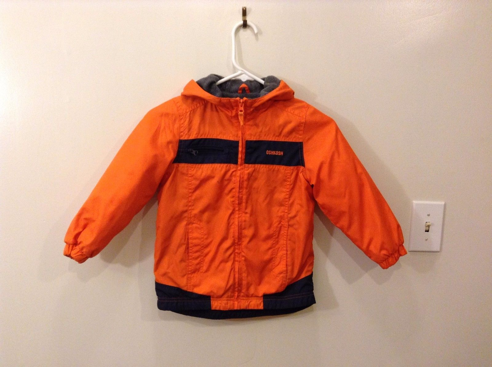 OshKosh 6 Bright Neon Orange Winter Jacket Navy Blue Zips Up 2 Front Pockets