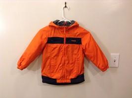 OshKosh 6 Bright Neon Orange Winter Jacket Navy Blue Zips Up 2 Front Pockets