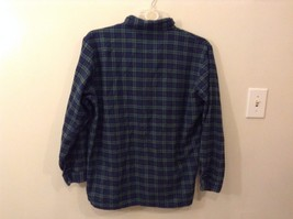 Lee Valley L Plaid Flannel PJ Button Up Navy Blue Green Great Condition image 4