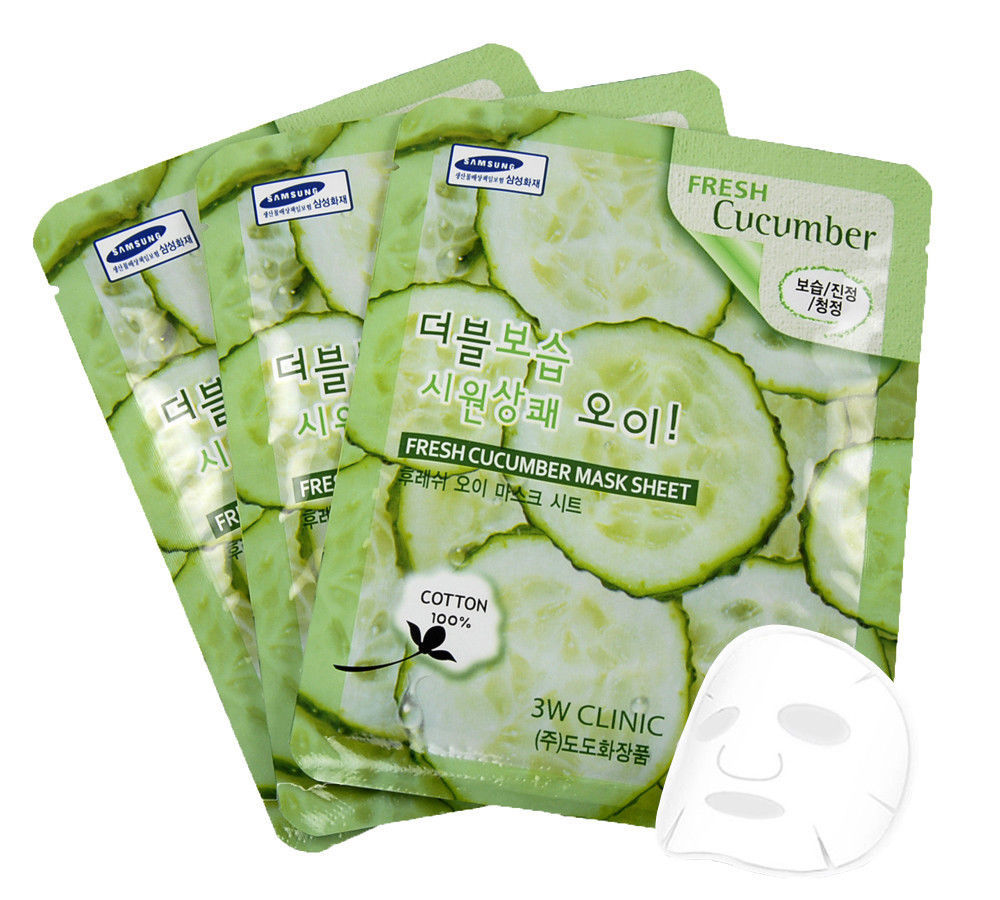"3W Clinic Fresh ""Cucumber"" Mask Sheet Essence Face Mask Sheet 3,6,10,20,30 pcs"