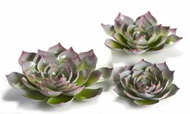 Set of 3 Metal Flower Design Wall Decor - 3D Design With Red Tips Home Garden