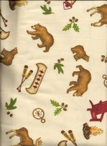 New Lodge Life All Over Toss on Cream Flannel Fabric by the 1/4 Yard (Ou... - $3.00
