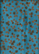New aqua pinecones cotton flannel fabric by the 1/2 yard - $4.00