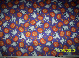 new  Halloween Purple Ghost & Pumpkin Toss 100% cotton fabric by the 1/2... - $4.00