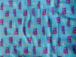 New Comfy Flannel Pink and Purple Owls on Blue Flannel Fabric by the 1/2... - $3.75