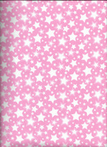 New Starry Nights Pink with White Stars Flannel Fabric by the 1/4 yard - $2.50
