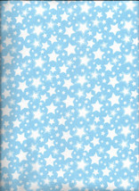 New Starry Nights Blue with White Stars Flannel Fabric by the 1/4 yard - $2.50