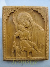 Handmade Carved Aromatic Wax Icon Blessed From Mt. Athos of Virgin Mary Axion... - $62.96