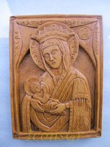 Handmade Carved Aromatic Wax Icon Blessed From Mount Athos of Virgin Mary 12 - $62.96