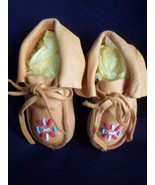 VTG Leather BABY MOCCASINS BEADED HARD SOLE SHOES - $29.35