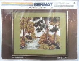 RIVER AUTUMN HARVEST TREES Counted Cross Stitch Kit BERNAT 12x15 HELEN B... - $23.99
