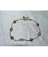 Estate MONET Marked Goldtone Snake Chain w Bronze & Clear Rhinestones Be... - $8.59