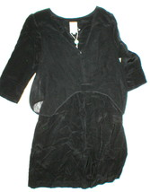 New Womens NWT 2 Designer Dress Gallery Italy Silk Black Buttons Short F... - $157.50