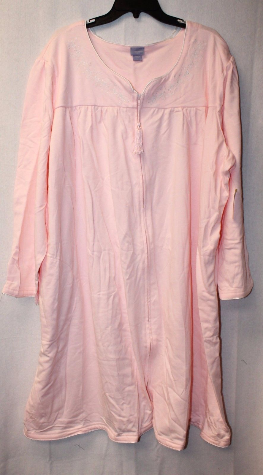 NEW LAURA SCOTT WOMENS PLUS SIZE 3X PINK EMBROIDERED KNIT DUSTER HOUSE BATH ROBE - $19.34