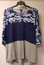 New Womens Plus Size 3X Blue & Gray Tie Dye Blocked Dolman Tee Shirt W Pocket - $17.41