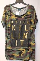 New Womens Plus Size 3X Gold Still Killin It Camo Camouflage Stretchy Shirt Top - $19.33