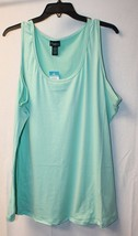 New Womens Plus Size 3X Light Mint Green Soft Brushed Solid Tank Top Shirt - $13.54