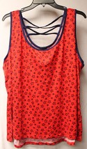 New Womens Plus Size 3X Blue & Red Starry Stars Tank Top With Cool Caged Back - $15.47
