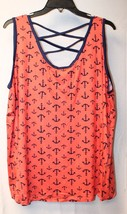 New Womens Plus Size 3X Orange & Navy Blue Anchor Lattice Strappy Back Tank Top - $17.89