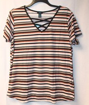 New Womens Plus Size 3X Pink Brown Black Striped Lace Up Front Ribbed Shirt Top - $15.47