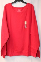 NEW WOMENS PLUS SIZE 5X 30W 32W RED SOFT & WARM FLEECE SWEATSHIRT SHIRT TOP - $17.41