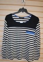 New Womens Plus Size 3X Black White & Blue Striped Shirt Top Cool Zipper Pocket - $12.59