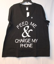 CUTE & FUNNY NEW WOMENS PLUS SIZE 3X FEED ME & CHARGE MY PHONE TEE SHIRT... - $16.44