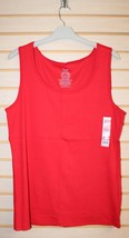 New Faded Glory Womens Plus Size 4X 26W 28W 26/28 Bright Red Rib Tank Top Shirt - $9.75
