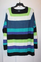 New Chaps Womens Plus Size 2X Boatneck Black Aqua Lime Raglan Sweater Shirt Top - $19.34