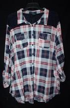 New Womens Plus Size 1X Navy Blue Buffalo Plaid Button Down Up Shirt W Lace Back - $19.33