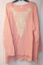 New Womens Plus Size 4X 28W Pink Pullover Sweater Top W Beautiful Lace Detailing - $19.34