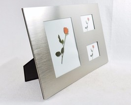 3 Panel Brushed Metal Photo Frame ~ Horizontal, Vertical, Wall, Desktop,... - €13,51 EUR