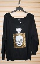 New Torrid Womens Plus Size 4 4X Black W Sequin Skull Perfume Bottle Sweater - $33.85