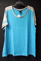 """New Womens Plus Size 3X Brite Blue & Gray Tee Shirt Top With Faux """"Mesh Sleeves"""" - $14.50"""