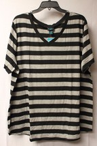 NEW WOMENS PLUS SIZE 1X BLACK & GRAY GREY STRIPED SUMMER V NECK TEE SHIR... - $16.44