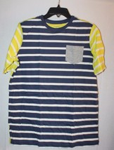 NEW LANDS END BOYS SIZE LARGE 14-16 BLUE & YELLOW STRIPED W GRAY POCKET ... - $5.52