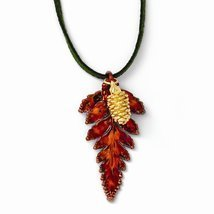 Iridescent Copper Fern Leaf/24k Gold Dipped Pine Cone Necklace - $37.73